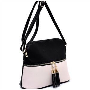 Handbags - Tassel Zip Dome Crossbody Bag Satchel  lack/Blush